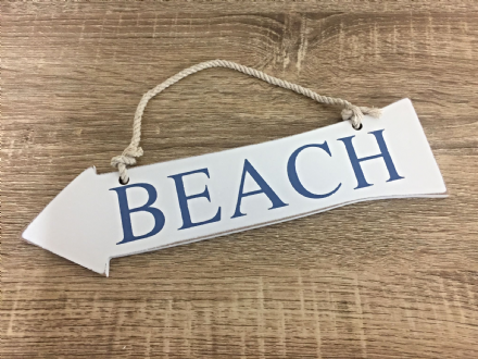 Hanging Wooden BEACH Arrow Nautical Decor